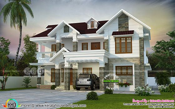 2924 square feet sloping roof house plan