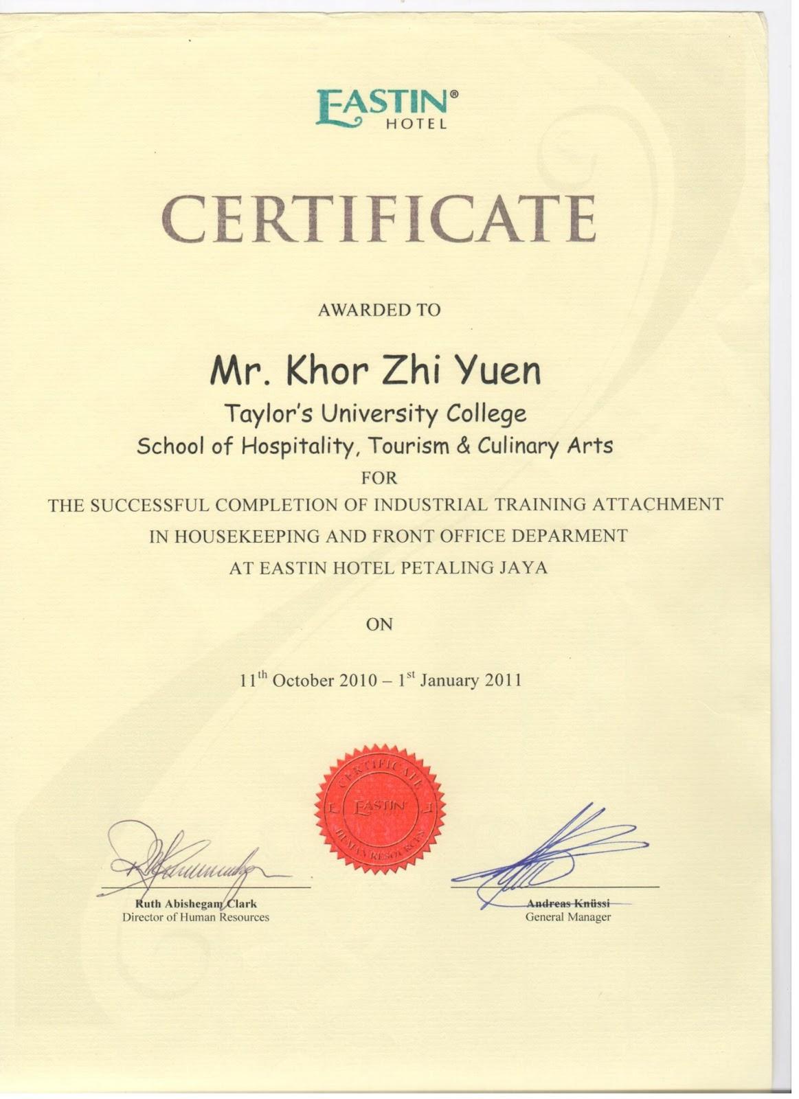 E-Portfolio - Khor Zhi Yuen (Shawn): Professional Experience