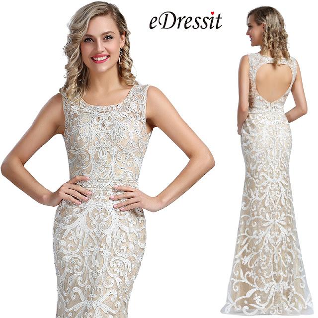 eDressit Sleeveless Beige Embroidery Beaded Evening Dress
