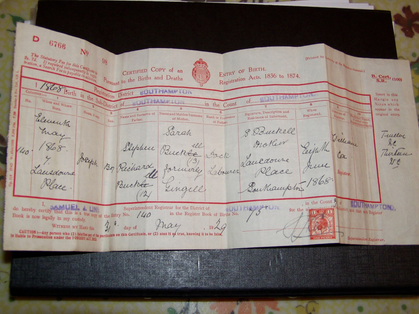 The edge of snowdonia esms quicklessons a dearmyrtle genealogy the first item refers to baptisms for children at st josephs church in southampton and the second is a copy birth certificate for one of the children aiddatafo Gallery