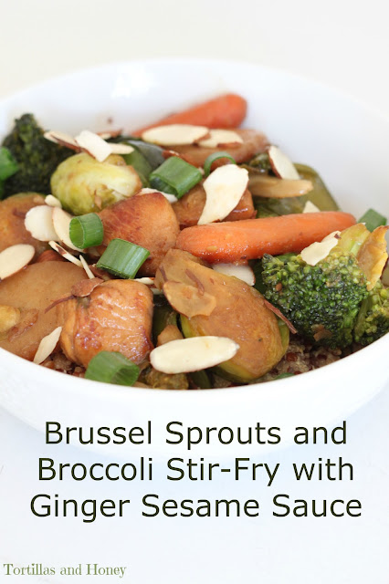 Brussel Sprouts and Broccoli Stir-Fry with Ginger Sesame Sauce | Tortillas and Honey