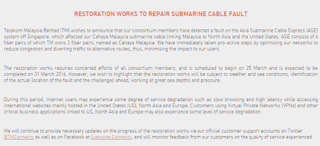 UNIFI RESTORATION WORKS TO REPAIR SUBMARINE CABLE FAULT