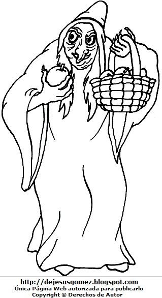 Imagen de la bruja de blancanieves para colorear pintar imprimir. Dibujo de bruja de Jesus Gómez