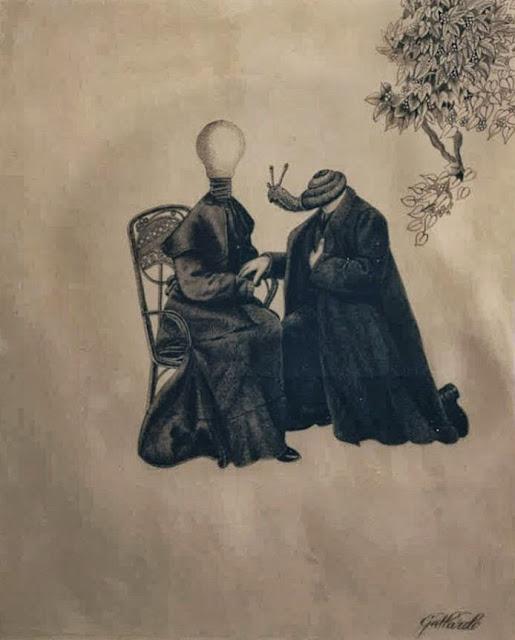 Gervasio Gallardo dibujo surrealista caracol luz mujer hombre
