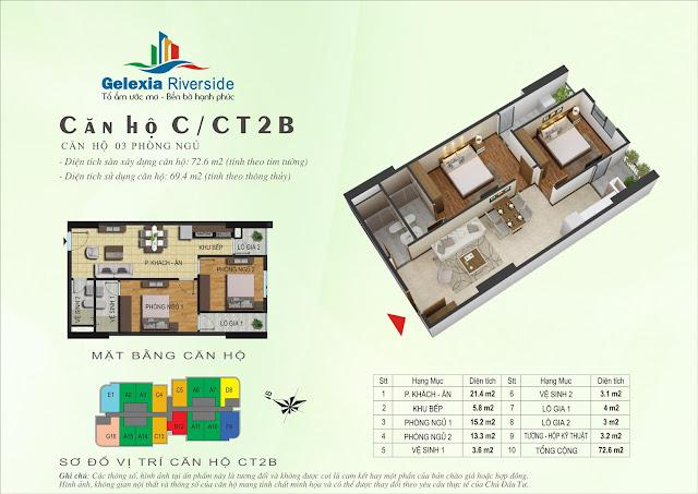 Mặt bằng căn hộ C - CT2B - CT3 chung cư Gelexia Riverside