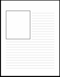 Printable writing paper with lines and drawing space