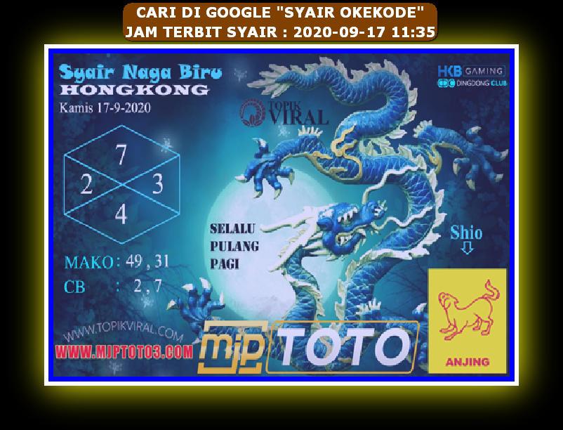 Kode syair Hongkong Kamis 17 September 2020 268