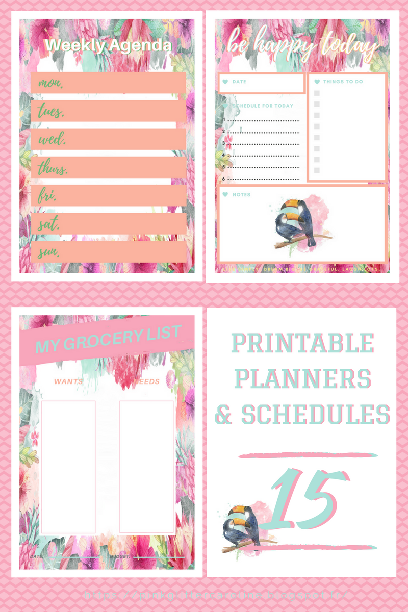 article planners imprimables gratuits schedules to-do lists free printables design toucan life