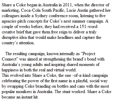 brief history of share a coke: www.scarletnews.com