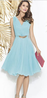 vestido de fiesta Cabotini en chiffon con plisado 2018