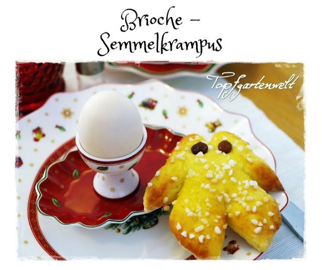 Semmelkrampus aus Brioche-Teig mit Hagelzucker und Rosinen - Gartenblog Topfgartenwelt