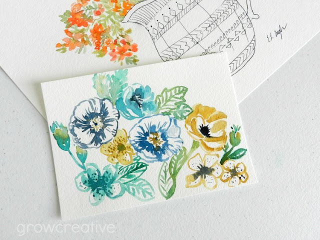 blue, gold, teal flowers painting by Elise Engh: growcreativeblog