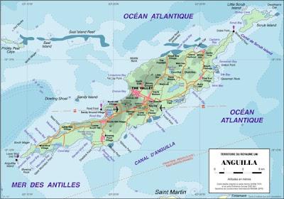 Carte d'Anguilla île des Caraibes
