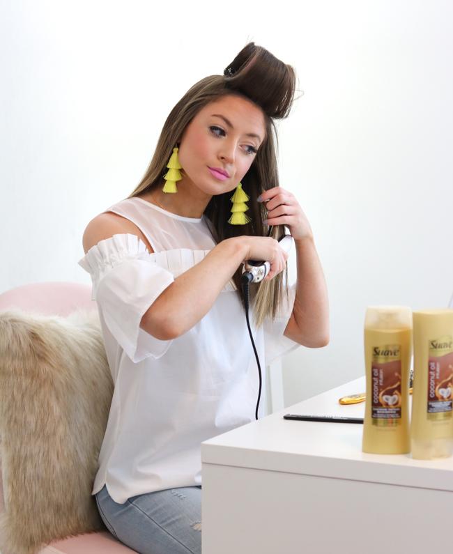 straightening hair with jumbo velcro rollers