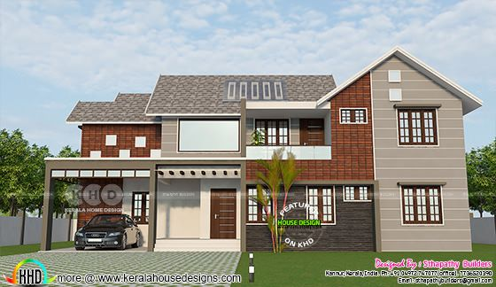 2584 square feet mixed roof 4 bedroom Kerala home design
