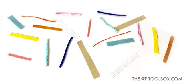 Use craft materials like pipe cleaners, craft sticks, wikki sticks, straws, and other materials in this dragonfly occupational therapy craft for kids.