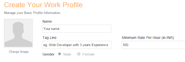 Creating a profile in work N hire