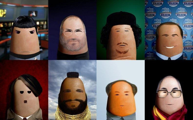 Retratos de personas famosas en los dedos