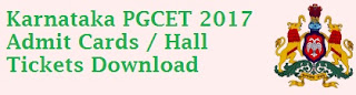 KEA PGCET Admission Cards 2017