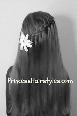 5 strand fall through braid, long hair