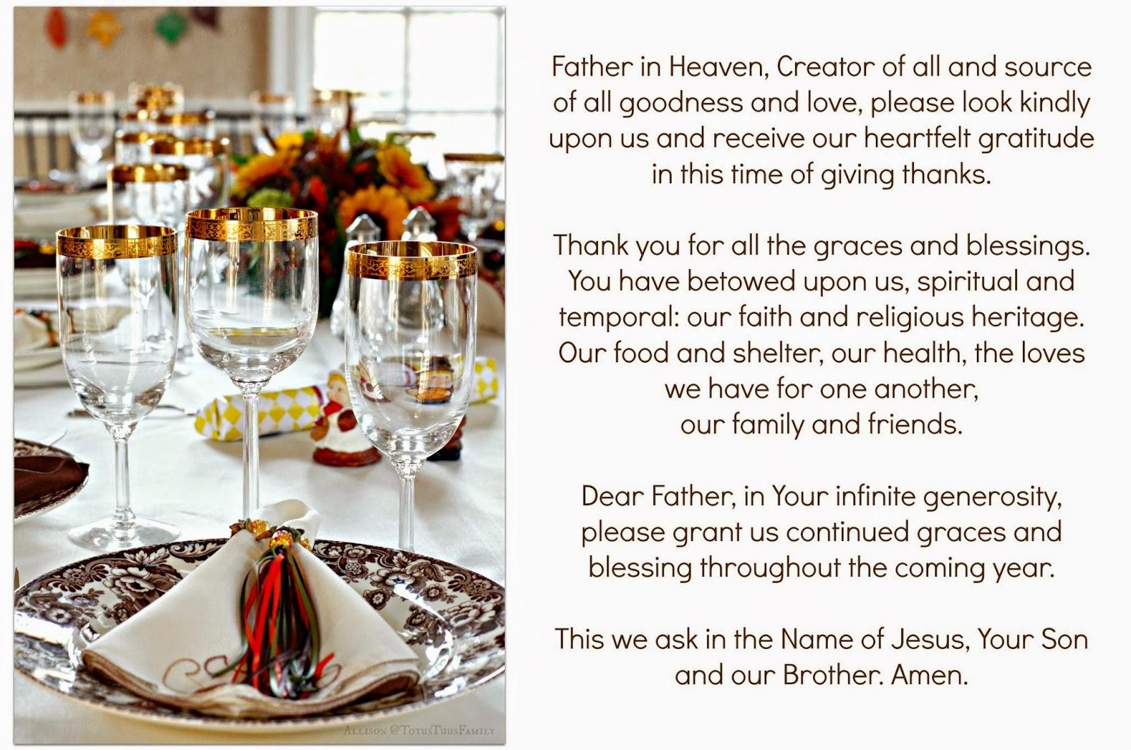Catholic Thanksgiving Prayer