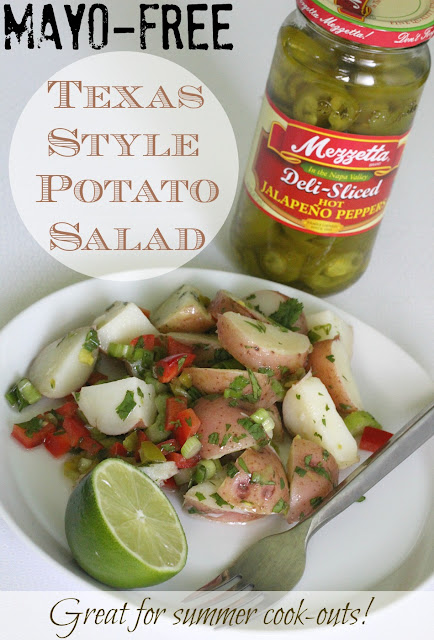 This non mayo potato salad packs a spicy punch and is perfect for your summer cookouts and BBQs!