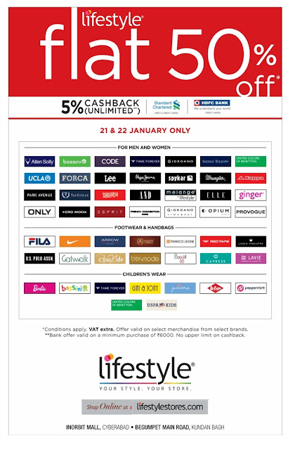 Flat 50% off sale in Lifestyle | January 2017 discount offers |  Republic day