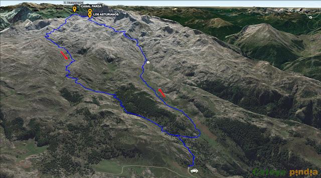 Mapa con la ruta señalizada al Pico de los Asturianos, Canal Parda y Torre de los Traviesos en Picos de Europa.