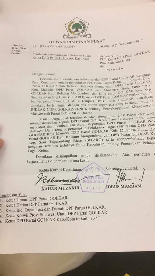 DPP Golkar Keluarkan SK Pembatalan Penunjukan Ketua DPD Golkar Kab/Kota