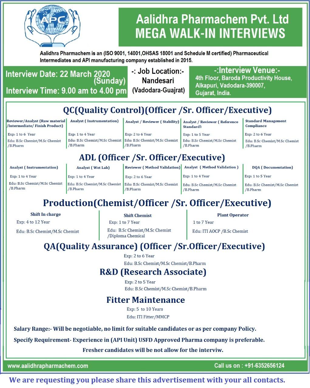 Aalidhra Pharmachem Pvt. Ltd - Mega Walk-In Interviews for Multiple Positions - QC | ADL | Production | QA | R&D | Maintenance on 22nd Mar' 2020