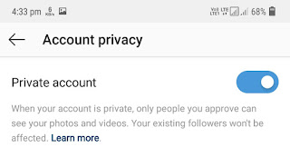 Make Instagram account private