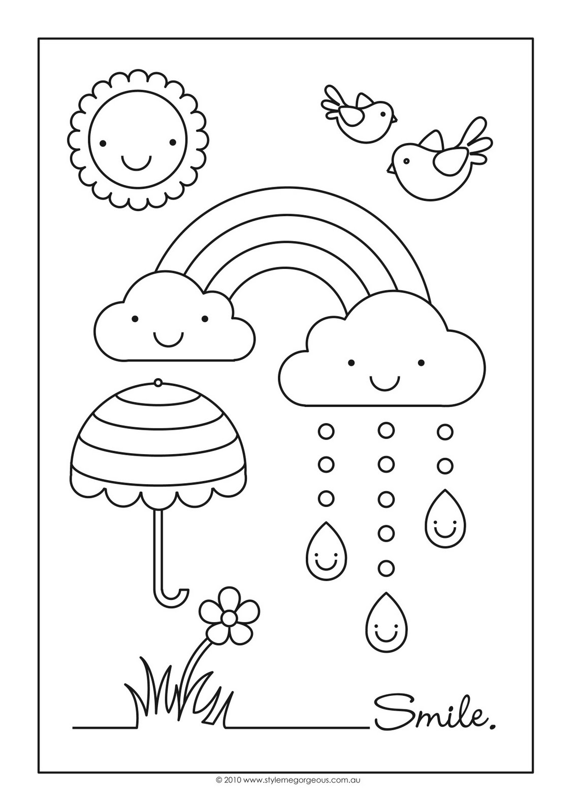 rainbow coloring pages 10 rows - photo#5