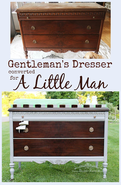 Antique Gentleman's Dresser Turned Baby Changing Table, Bliss-Ranch.com