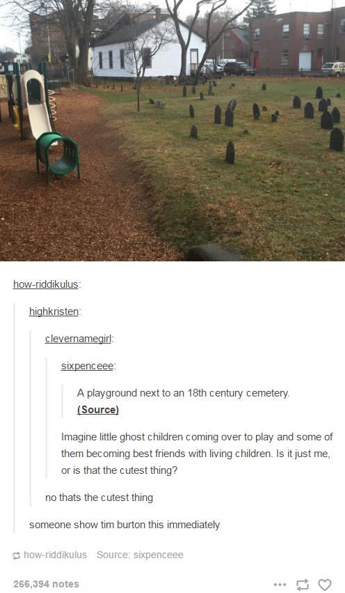 A playground next to an 18th century cemetery - tumblr