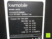 hinten: kwmobile Universal Notebook Ladegerät Netzteil 90W und USB Anschluss, Adapter für Acer, Asus, Lenovo, Liteon, Samsung, Sony, Toshiba und weiteren