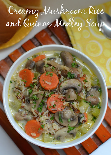 A delicious meatless soup that's ready in less than 30 minutes! So hearty and great leftover! Creamy Mushroom Rice and Quinoa Medley Soup Recipe from Hot Eats and Cool Reads