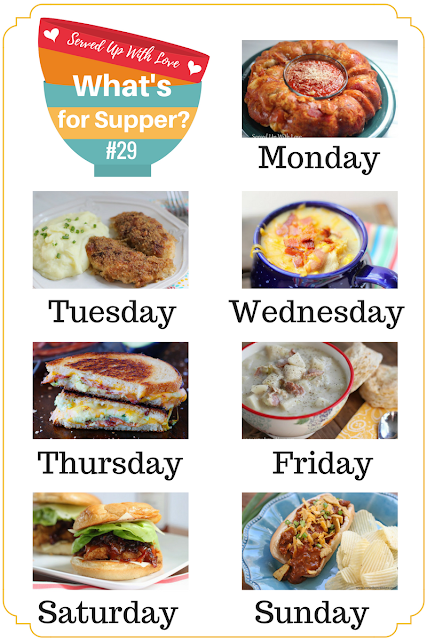 Bacon Avocado Grilled Cheese, Oh So Good Crispy Chicken, Pull Apart Pizza Bread, Broccoli Salad, and so much more at What's for Supper Sunday at Served Up With Love.