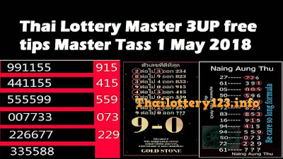 Thai Lottery Master 3UP free tips Master Tass 1 May 2018