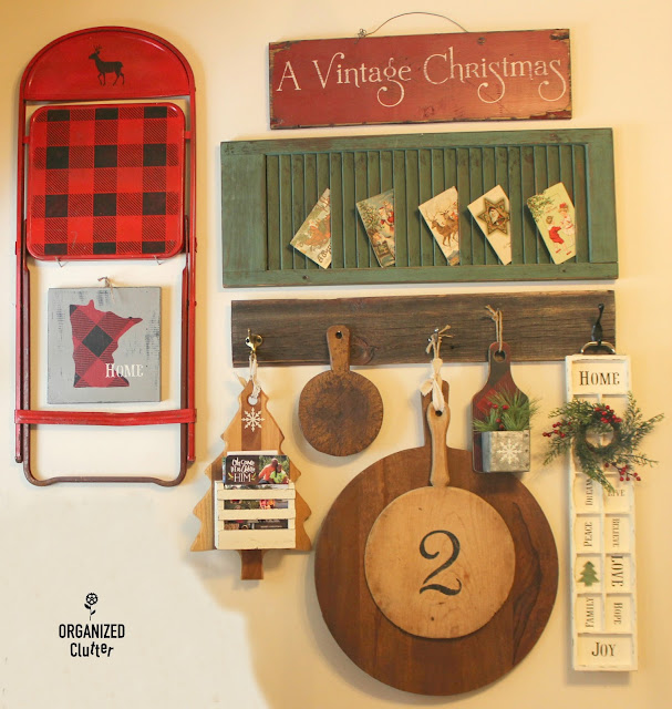 Christmas Buffalo Check Cutting Board Vignette #buffalocheck  #cuttingboard #signs #Minnesotadecor