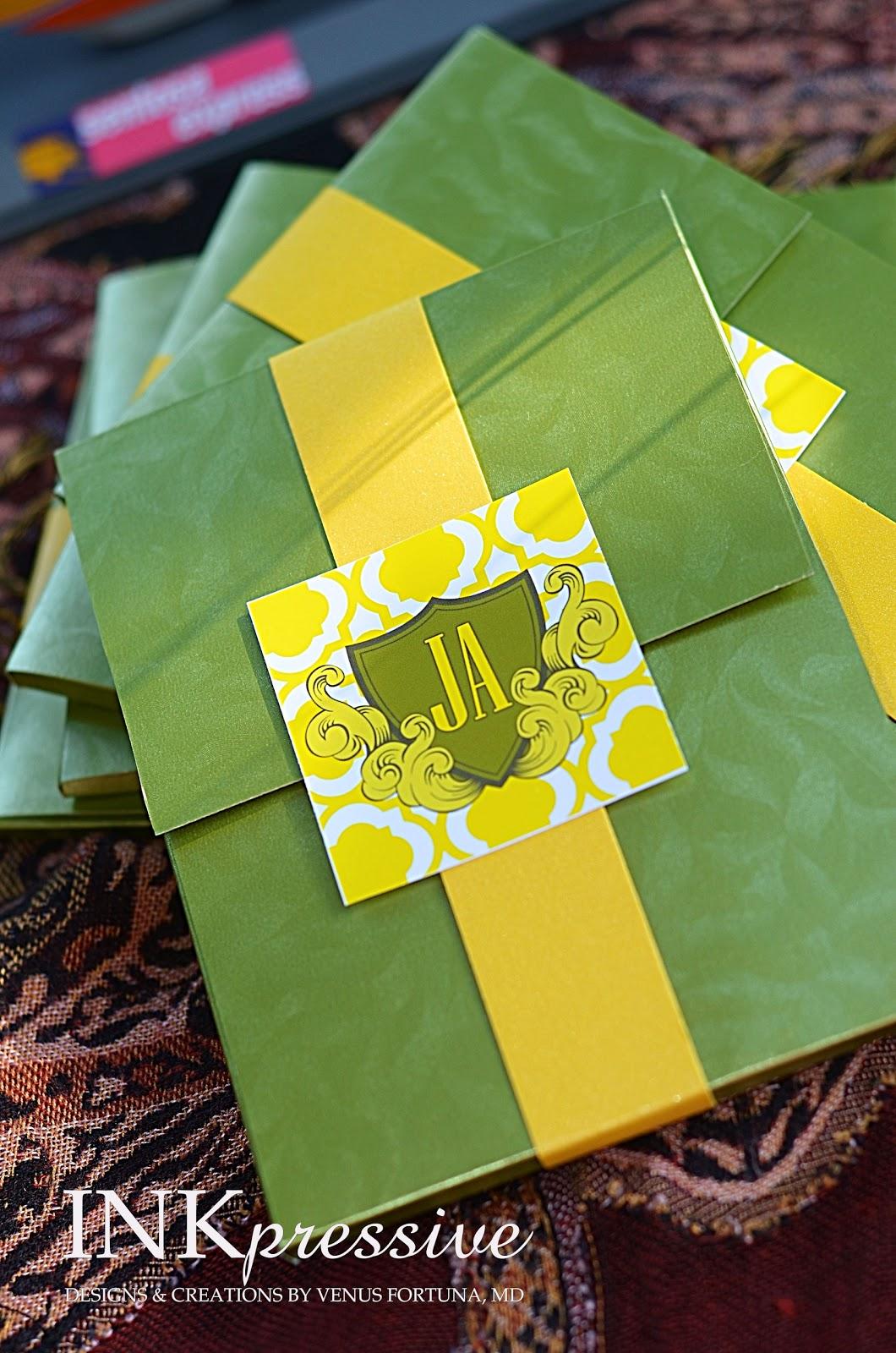 Passport Wedding Invitation Green And Yellow Inkpressive