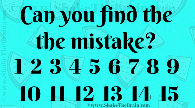 Can you find the the mistake? 1 2 3 4 5 6 7 8 9 10 11 12 13 14 15