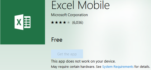 Installing and running Excel on Windows Phone