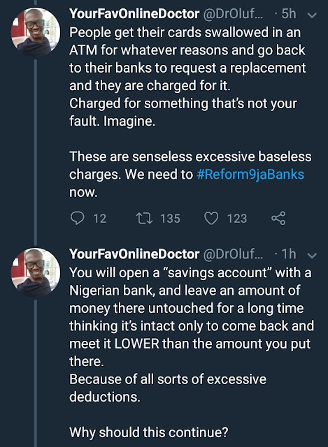 UK based doctor is seriously shaking tables with his tweets comparing Nigerian bank charges to foreign banks