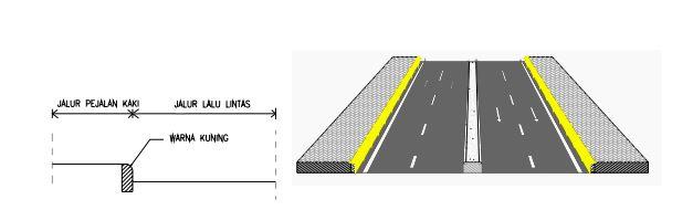 penggunaan marka jalan garis utuh warna kuning pada tepi jalan