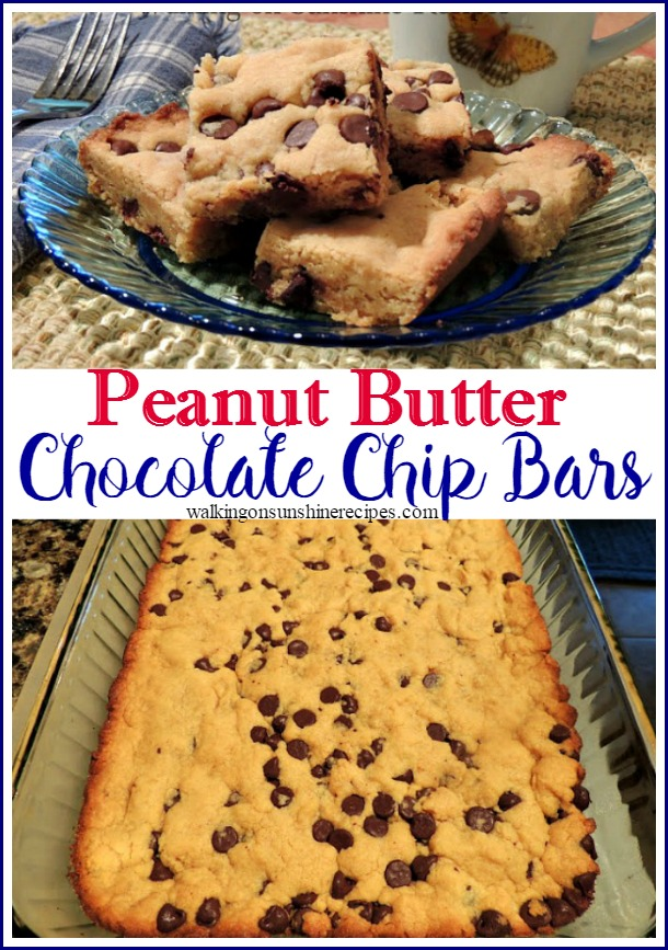 These peanut butter chocolate chip bars are easy and delicious.  They're perfect for bake sales, after school snacks or just when you need something sweet for your family.  Get the recipe on Walking on Sunshine Recipes.