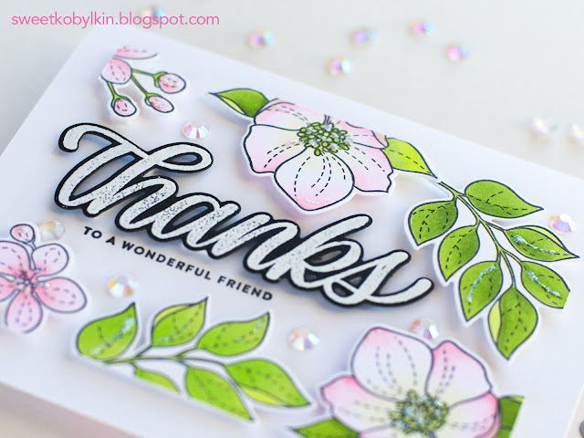 Using individual die cuts for creating floral frame card
