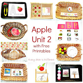 Apple themed learning activities and free printables for kids.