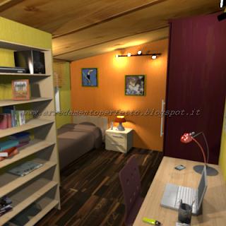 La zona studio nella mansarda