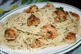 Garlic and butter scampi pasta with white wine, fresh herbs, lemon and red pepper flakes, tossed with seasoned, pan-seared shrimp.