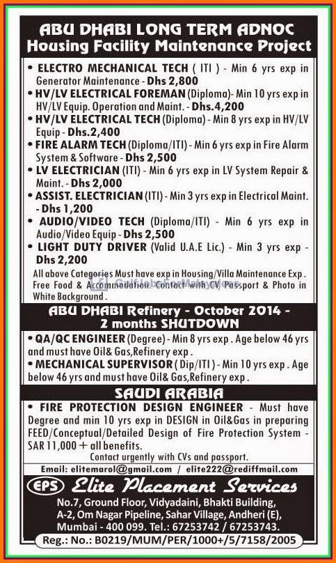 Abudhabi maintenance Project ADNOC - Gulf Jobs for Malayalees